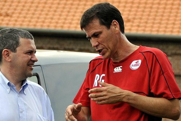 Xavier Thuilot ancien directeur general du LOSC et l'entraîneur du même club, Rudi Garcia en 2008.