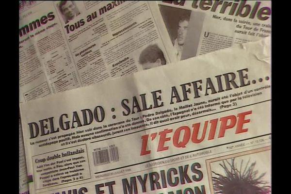 En 1988, alors leader du Tour de France, le coureur espagnol Pedro Delgado est contrôlé positif au test anti-dopage.