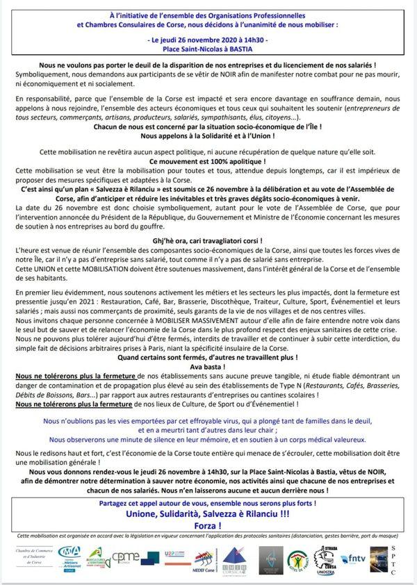 Le communiqué, signé par douze organisations et institutions corses, appelle à une large mobilisation