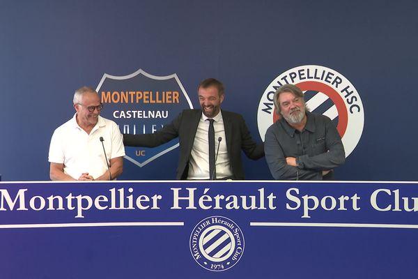 Jean-Charles Caylar (président du club de volley), Michaël Delafosse (maire de Montpellier) et Olivier Nicollin (PDG du groupe éponyme), lors de la conférence de presse officialisant le changement de nom du Montpellier Castelnau Volley en MHSC Volley, mercredi 25 août à Grammont (Hérault).