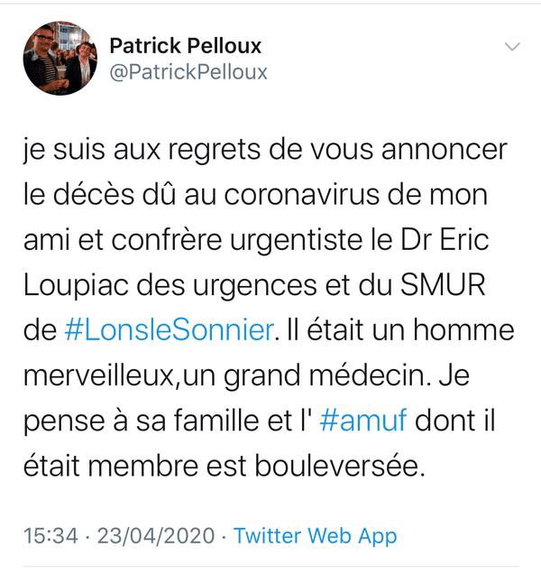 Le docteur Patrick Pelloux président de l'AMUF a réagi sur twitter