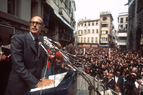 Perpignan - Valéry Giscard d'Estaing en campagne électorale pour la Présidentielle - 29 avril 1974.