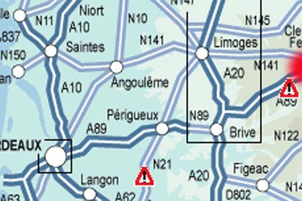 L'autoroute A 89 coupée à Saint-Julien-Puy-Lavèze (63) vendredi 5 octobre 2012