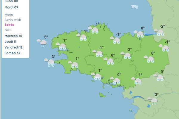 Carte des prévisions météo sur la Bretagne pour le mardi 9 février soir
