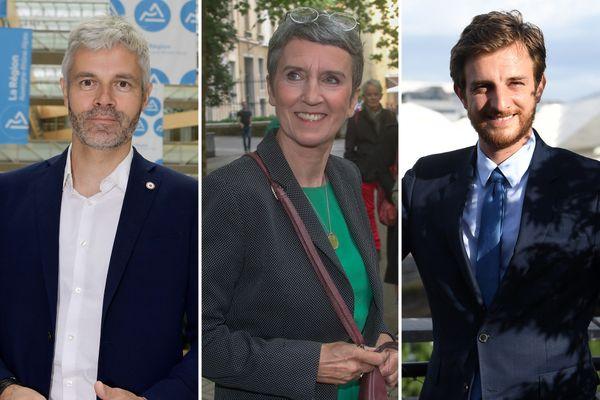 De gauche à droite, les candidats pour le second tour des élections régionales 2021 en Auvergne-Rhône-Alpes : Laurent Wauquiez (LR), Fabienne Grébert (EELV), Andréa Kotarac (RN).