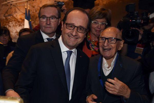 Simon Coencas avec François Hollande à Lascaux le 10 décembre 2016