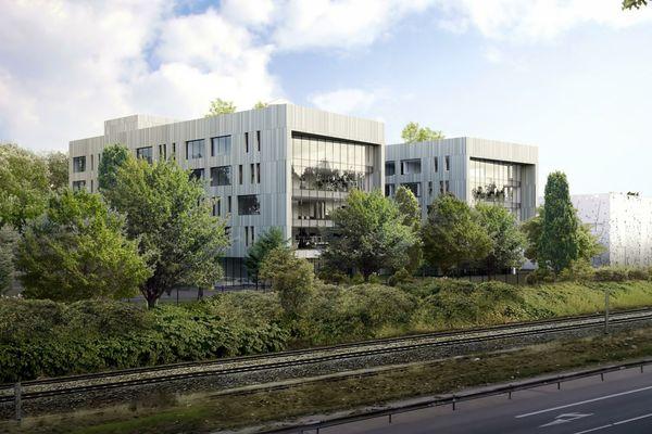 Le futur centre de recherche et d'innovation d'Artelia à Echirolles, vu depuis la rocade.
