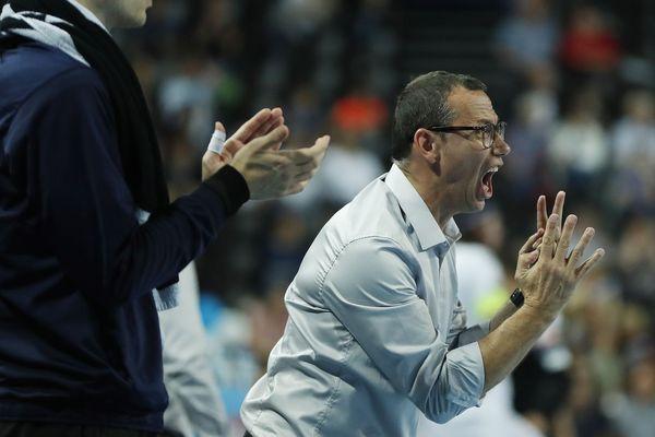 L'entraîneur de Montpellier Patrice Canayer lors de la défaite 30-29 de Montpellier face à Veszprem en Ligue des champions - 13 octobre 2018