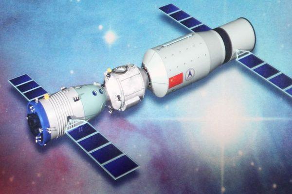Illustration chinoise présentant le laboratoire spatial Tiangong-1