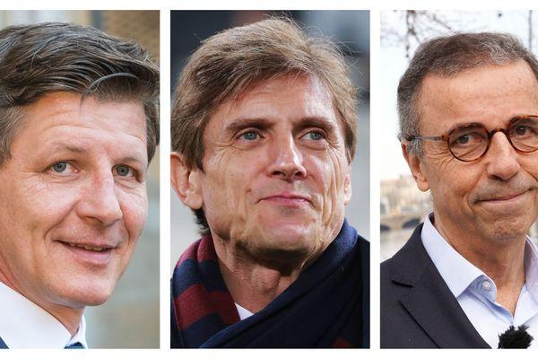 Le maire de Bordeaux, Nicolas Florian, et Pierre Hurmic le candidat écologiste, demandent des comptes au PDG des Girondins Frédéric Longuépée, ici au centre de la photo.