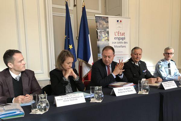 Conférence de presse des autorités qui rendent public le bilan 2019 de la lutte contre la délinquance et l'insécurité routière pour la Moselle.