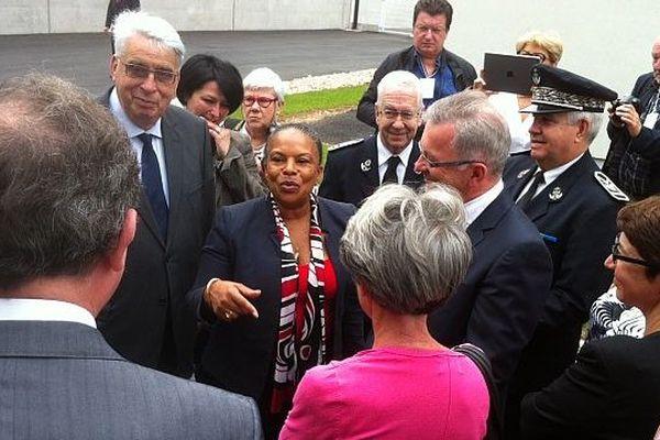 Christiane Taubira à l'inauguration du centre pénitentiaire d'Orléans-Saran le 25 juillet 20140.