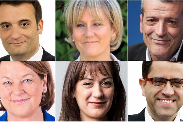 Florian Philippot (FN), Nadine Morano (UMP), Edouard Martin (PS), Nathalie Grisbeck (UDI-Modem), Sandrine Bélier (EELV),  Gabriel Amard (FDG).