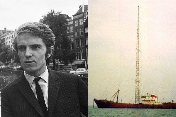 Ronan O'Rahilly, le fondateur de Radio Caroline, et l'un de ses navires émetteurs, au large de l'Angleterre.