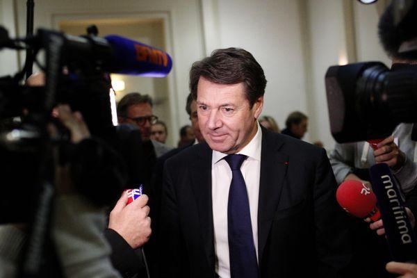 Christian Estrosi à son QG marseillais dimanche soir.
