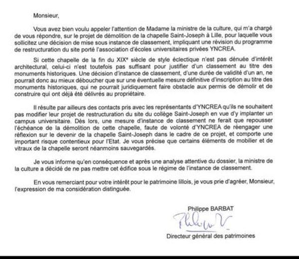 Par ce courrier, le ministère de la Culture indique que la chapelle n'est pas éligible au titre des monuments historiques
