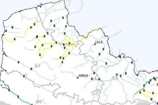 La carte Vigicrues publiée ce dimanche après-midi à 16 heures.