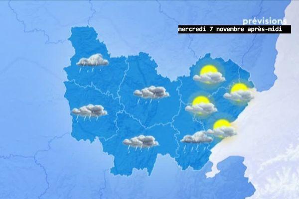 Les prévisions de Météo-France pour mercredi 7 novembre 2018