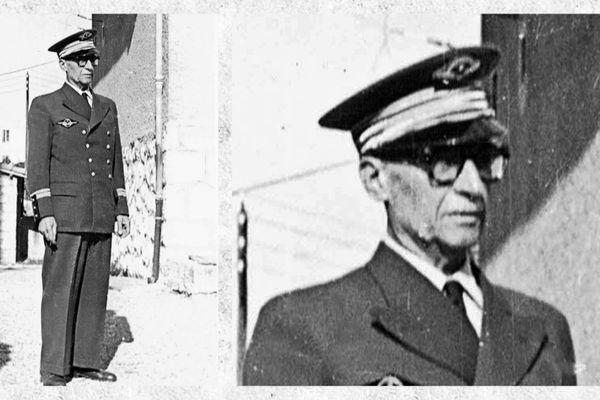 Albert Terrusse en uniforme de commandant de la station aéronavale d'Antibes.