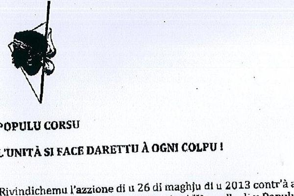 Un communiqué anonyme transmis le 3 juin 2013 à la rédaction de RCFM