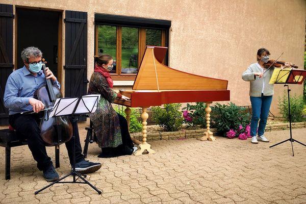 Stephan Schultz, Anne-Catherine Bucher et Florence Stroesser en concert privé pour l'ensemble baroqueLe Concert Lorrain le 24 mai 2020