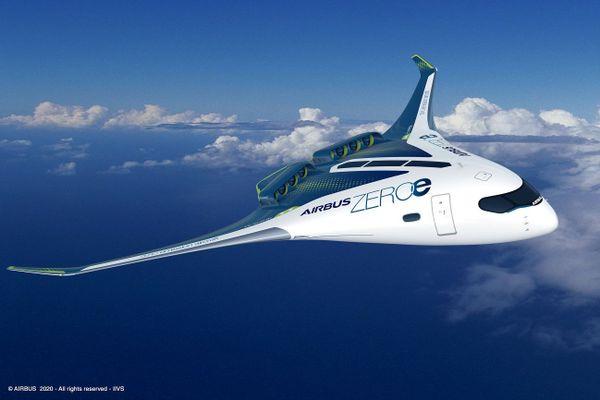 Un concept d'aéronef à fuselage intégré ZEROe d'Airbus