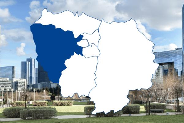 Les départements des Hauts-de-Seine et des Yvelines regroupés.