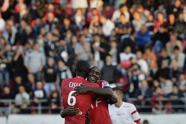 Julio Tavares a ouvert le score lors du match Dijon-Nancy au stade Gaston-Gérard, à Dijon, le 22 mai 2015