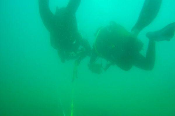 Les étudiants en Master du Centre de Recherche sur les Ecosystèmes Marins de Port-Barcarès (Pyrénées-Orientales) en plongée en juin 2019