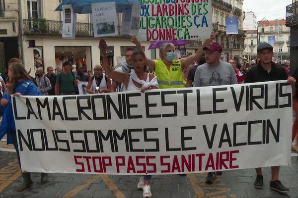 Manifestation à Montpellier, le 7 août 2021.