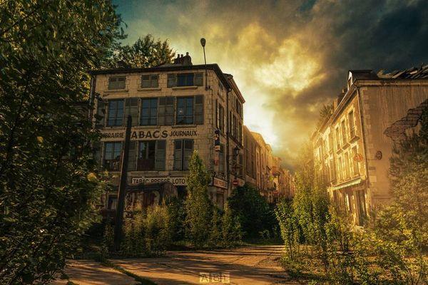 Une photo de Poitiers retravaillée numériquement.