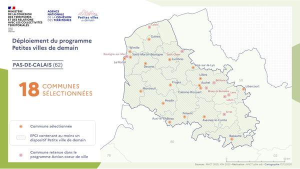 """Les communes du Pas-de-Calais retenues dans le cadre du programme """"Petites villes de demain"""""""