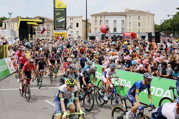 Le Tour de France à Carcassonne le 10 juillet 2021.