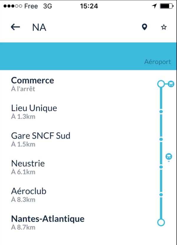 L'appli Zenbus permet de connaître la position du prochain bus à proximité de l'arrêt où l'on se trouve, distance en kilomètres d'abord, puis temps en minutes à l'approche.