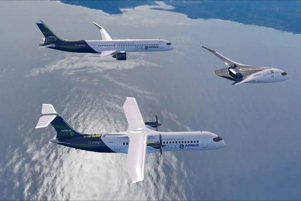 Les 3 prototypes d'avions à hydrogène présentés par Airbus le 21 septembre dernier.