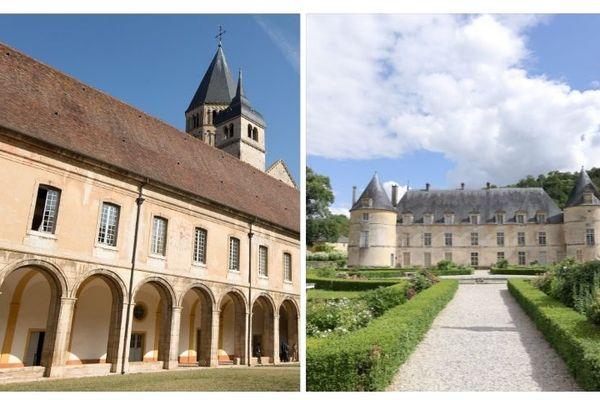 L'abbaye de Cluny (à gauche) et le château de Bussy-Rabutin (à droite)