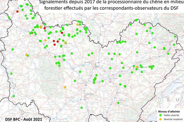 Carte des signalements de chenilles processionnaires du chêne en Bourgogne-Franche-Comté depuis 2017.