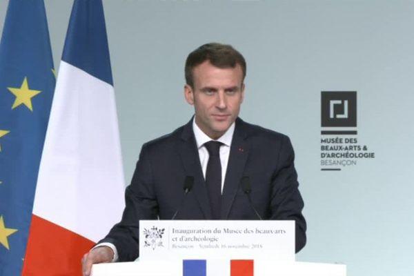 Emmanuel Macron au musée des Beaux-Arts de Besançon le 16 novembre