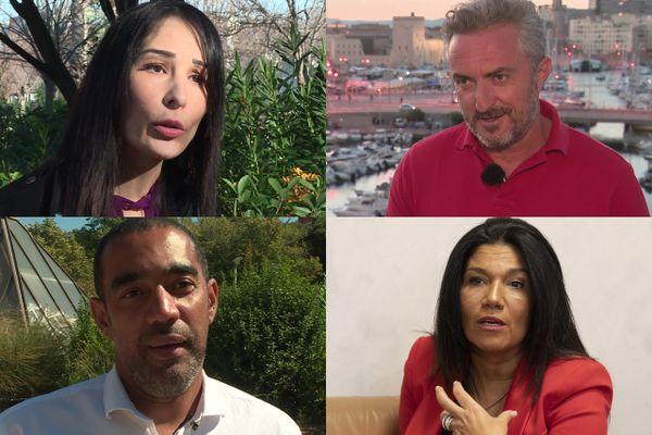 De gauche à droite et de haut en bas : Alexandra Louis, Stéphane Ravier, Said Ahamada, Samia Ghali