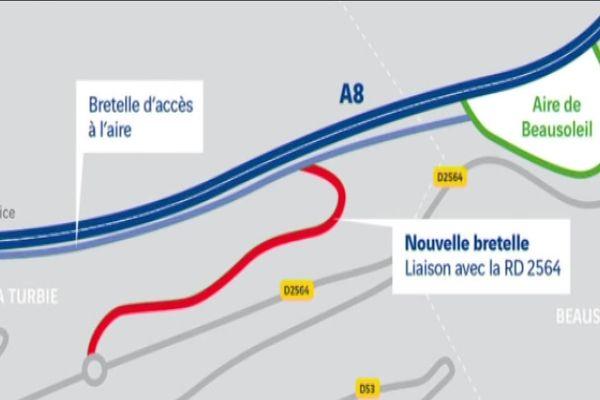 La future bretelle se situe administrativement sur la commune de la Turbie et géographiquement à proximité de l'aire de Beausoleil.