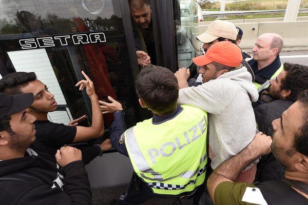 Des réfugiés se trouvant en Autriche, en septembre 2015.