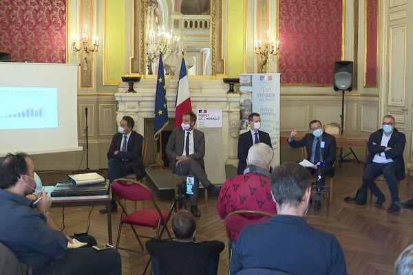 Montpellier - le préfet de l'Hérault en conférence de presse à la veille du passage de la métropole et 7 autres communes en zone d'alerte maximale COVID - 12 octobre 2020.
