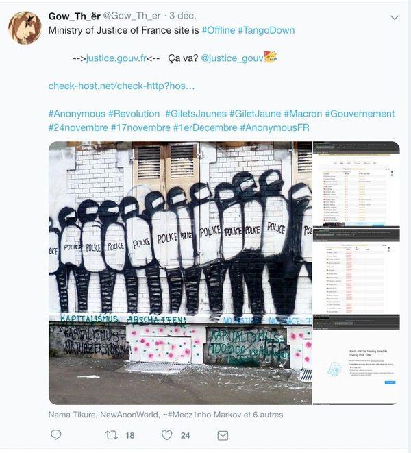 Capture d'écran d'un compte Twitter revendiquant une attaque sur le site du ministère de la Justice, le 3 décembre 2018