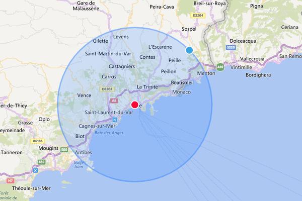 Si vous habitez à Nice, vous pourrez vous balader jusqu'à Levens, Antibes et Menton.