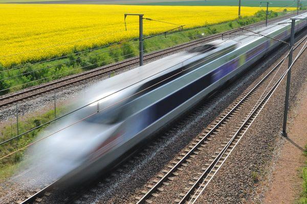 Le TGV sur la ligne Atlantique à Voves