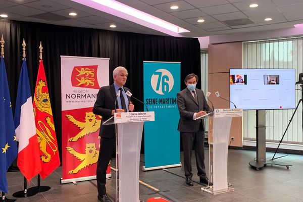 Hervé Morin et David Bellanger lors d'un conférence de presse jeudi 11 février 2021.