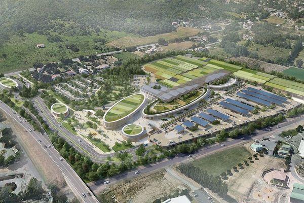 Maquette virtuelle d'une vue aérienne du centre commercial Kallisté prévu par Fanti Promotion à Lucciana.