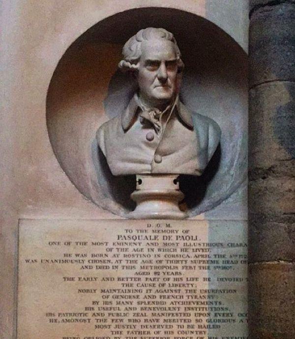 Buste de Pasquale Paoli à l'abbaye de Westminster, Londres