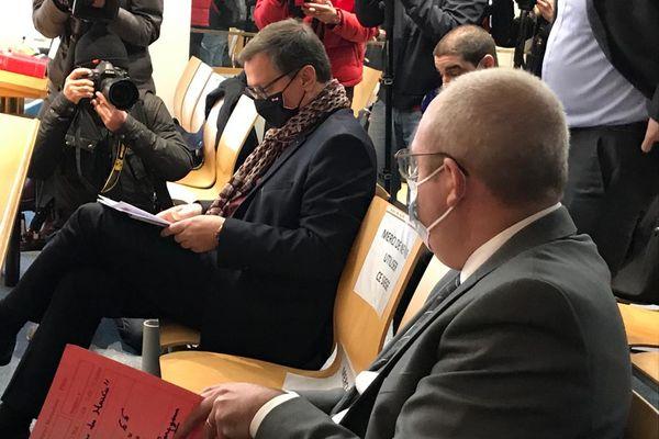 Louis Aliot, maire RN de Perpignan, dans la salle d'audience du tribunal administratif de Montpellier - 15 février 2021.