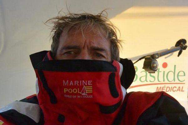 Kito de Pavant à bord de Made in Midi lors de la Route du Rhum 2018.